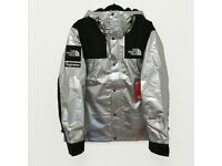 Supreme x The North Face Metallic Silver Jacket / Coat / Parka - Large New 100% Authentic