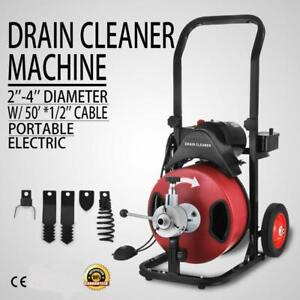 Commercial SEWER SNAKE drain cleaner 50 ft long 1/2 Four interchangeable heads - BRAND NEW - FREE SHIPPING
