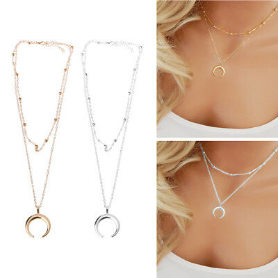Half Moon Crescent Pendant Necklace Double Horn Jewelry Minimal Girlfriend Gift