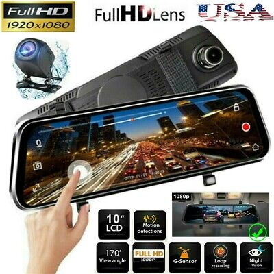 10 HD 1080P Dual Lens Car DVR Rearview Mirror Cam Dash Recorder + Rear Camera