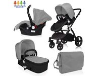 New Baby Girls or Boys Newborn - Toddler 3 in 1 Pram / Travel System / Cary Cot / Carseat/ Nappy Bag