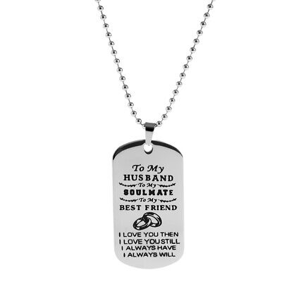 Polished Stainless Steel Dog Tag Pendant Necklace TO MY HUSBAND Best