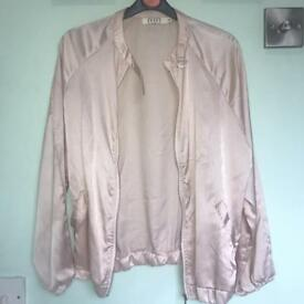 Pink satin bomber size m missguided boohoo topshop