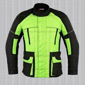 HIGHLY Mens Motorcycle Motorbike Jacket Waterproof Textile Black HI VIS CE Armoured