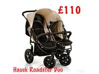 Exdisplay Hauck roadster duo side by side double twin Pram pushchair from birth beige unisex