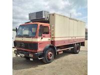 Left hand drive Mercedes Benz 1617 17 Ton fridge freezer box lorry. On 10 studs.