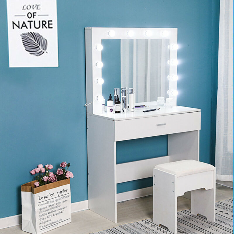 Vanity Set with 12 Lighted Mirror Makeup Dressing Table Dres