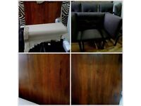New Solid dark wood rectangle dining table and 6 chairs new never used
