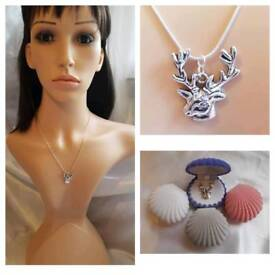 Handmade reindeer necklace and pendant