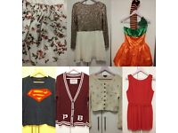 Bundle of Cardigans, dresses, halloween costume and a skirt.