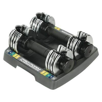 ProForm SpaceSaver Adjustable 25 Pound Dumbbell Weights Pair with Storage Tray