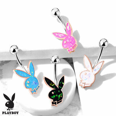 Opal Glitter Style Rose Gold Playboy Bunny Belly Ring Piercing Naval Navel ()
