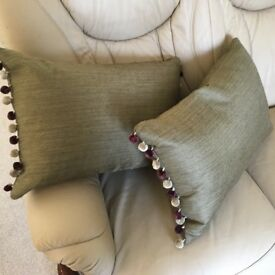 New Custom Made Cushions in a Green Blendworth Fabric with Pom-Pom in Aubergine/Linen x 2