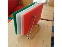 Hygiplas Anti Microbial High Density x4 and Hygiplas Triangle Chopping Board Rack