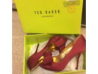 Size 5 red ted baker peep toes with bow