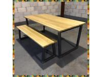 Industrial table & bench/solid oak/chunky steel frame/kitchen/home/restaurant/shops/quality