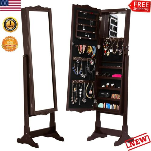 Wall Door Mounted Mirror Jewelry Cabinet Full Length Armoire