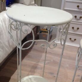 Unusual Pair of shabby chic distressed metal cream beds coffee lamp tables