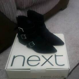Black suede fashion buckle ankle boots (size 6)
