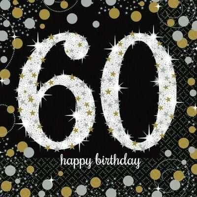 60. Geburtstag Party Servietten schwarz gold Zahlenservietten Tisch Dekoration (60. Geburtstag Dekoration)