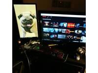 Gaming PC and 2 monitors