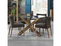 Bentley Designs Turin Glass Top Round Table 4 Chairs Seats 4 Rustic Oak veneer