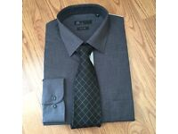 Men's BHS charcoal grey shirt & tie set . Never worn Size 16 collar