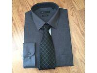 Men's BHS charcoal grey shirt & tie set . Never worn Size 16 collar