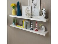 2 White MDF Floating Wall Display Shelves Book/DVD Storage-242186