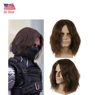 US! The Avengers Halloween Cosplay Costume Winter Soldier Bucky Barnes Brown Wig](The Winter Soldier Halloween Costume)