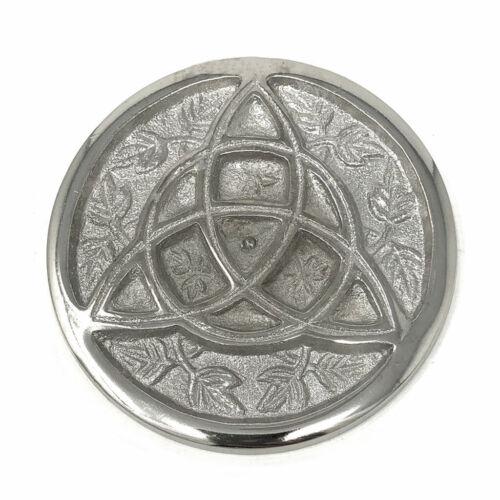 "Triquetra Altar Tile 3"" Silver Aluminum Incense Burner Celtic Knot NEW"