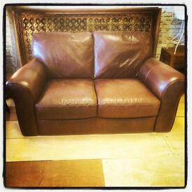 Brown Italian leather 2 seater sofa