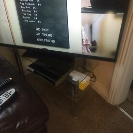 Glass television stand.
