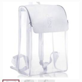 Calvin Klein CK2 clear transparent and leather backpack