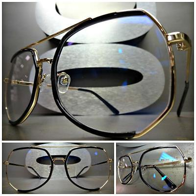 CLASSIC VINTAGE 70's RETRO Style Clear Lens EYE GLASSES Black Gold Fashion Frame