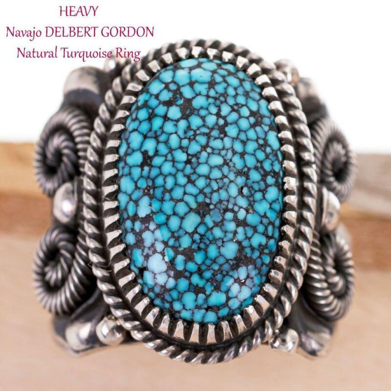 Turquoise Ring Sterling Silver DELBERT GORDON NATURAL Kingman Mens 11 Spiderweb