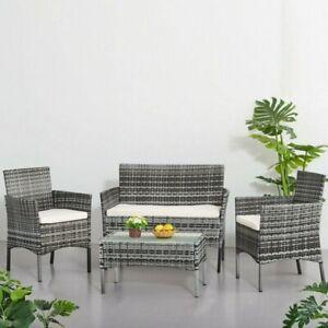 4Pcs/ Rattan Table Chair Set Garden Furniture Set Sofa Patio Outdoor Hotel