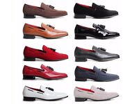 MEN'S SLIP ON SUEDE LEATHER LINED WESTERN HEEL LOAFERS DECORATIVE STITCH SHOES