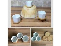 6pcs set of ceramic 3xflower pot planters with 3xwooden trays