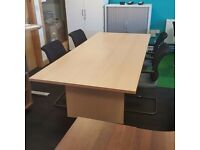 Beech Boardroom Table and 10 Chairs