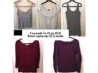Ladies size 10/12 tops bundle only £5 long sleeve vest and off shoulder