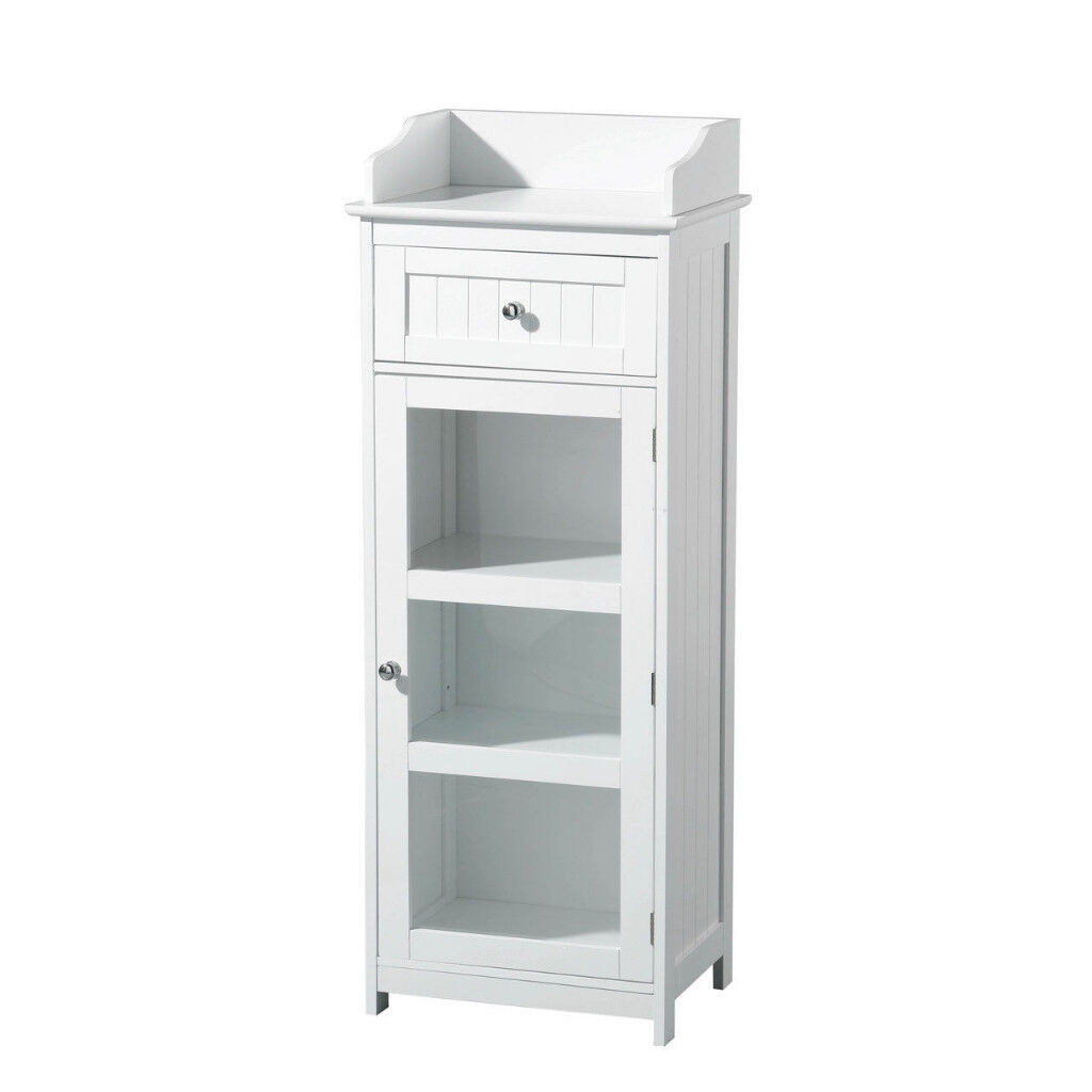 White Wooden Bathroom Furniture Single Gl Door Storage Cabinet 3 Inner Shelf