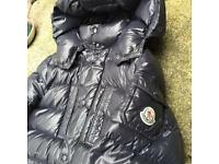 Moncler navy blue patent junior coat