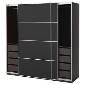 IKEA PAX ISSENGG GLASS SLIDING DOOR WARDROBE 8 MTS OLD GOOD CONDITION BARGAIN SPACE SAVER SIZE