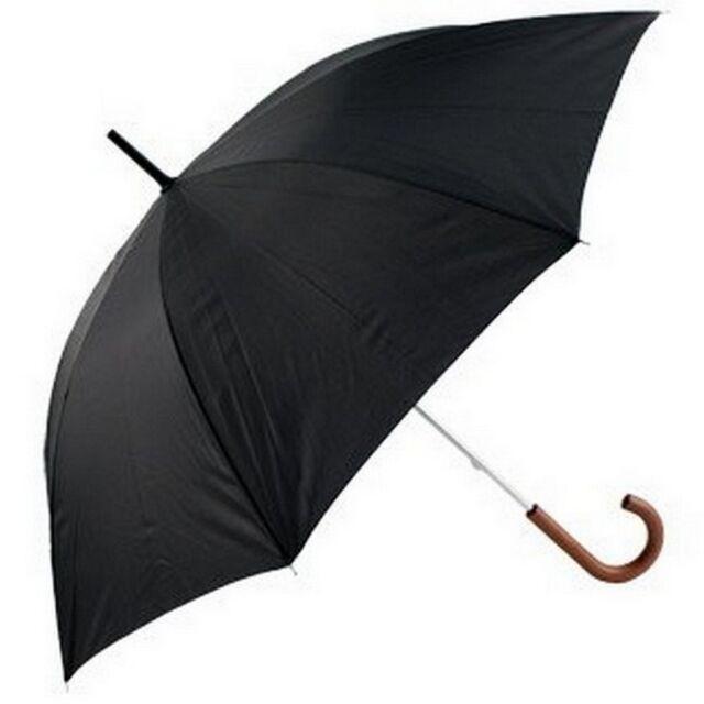 Mens Long Walking Length Umbrella Wood Handle Black by Incognito