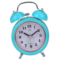 3inch Double Metal Bell Desk Table Loud Alarm Clock with Night Light Blue