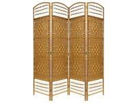 BNIB: Wicker 4 panel room divider