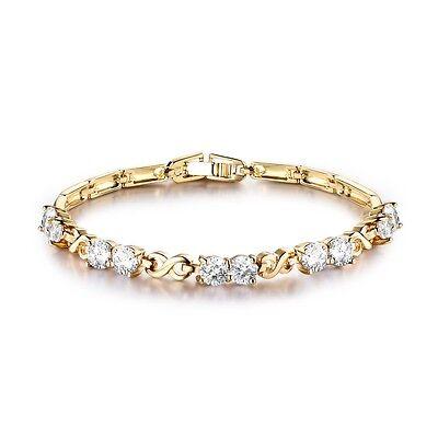 24k yellow gold filled 5 mm round white Topaz bra link wedding bracelet 7.5''