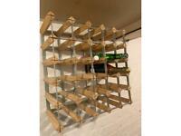 RTA Freestanding Wood Wine Rack, 25 Bottle, Light Oak