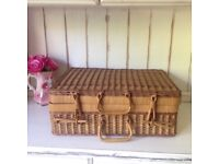 Vintage picnic basket complete with Tupperware tub